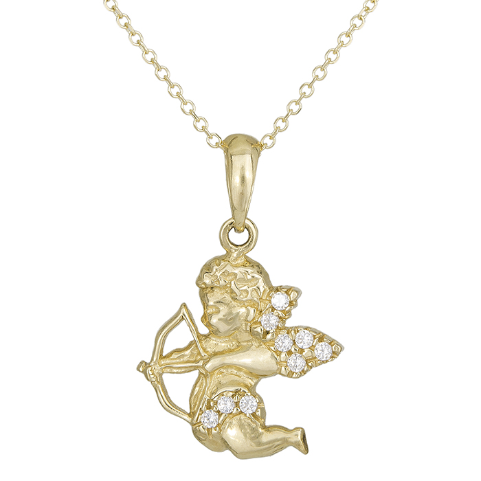 Χρυσό γυναικείο κολιέ Κ14 αγγελάκι με ζιργκόν 027668 027668 Χρυσός 14 Καράτια