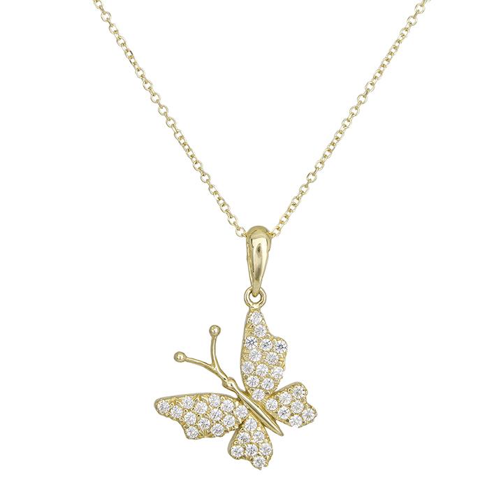 Γυναικείο κολιέ Κ14 πεταλούδα με ζιργκόν 027671 027671 Χρυσός 14 Καράτια