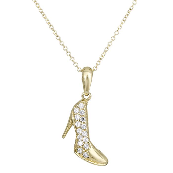 Γυναικείο κολιέ Κ14 χρυσό γοβάκι με ζιργκόν 027678 027678 Χρυσός 14 Καράτια