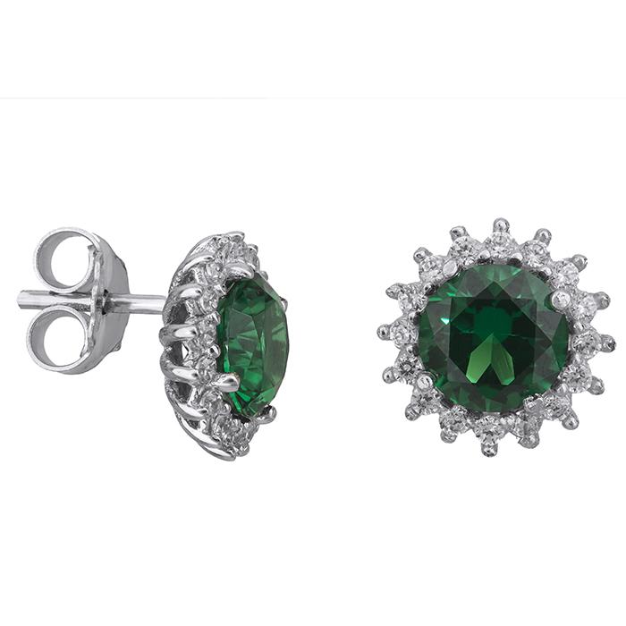 Σκουλαρίκια λευκόχρυσα Κ14 πράσινη πέτρα 027694 027694 Χρυσός 14 Καράτια