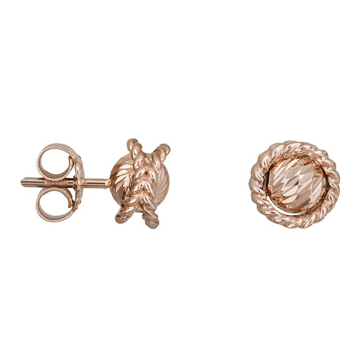 Ροζ gold σκουλαρίκια μπίλιες Κ14 027702 027702 Χρυσός 14 Καράτια