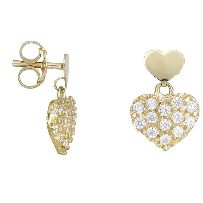 Χρυσά σκουλαρίκια Κ14 καρδούλες με ζιργκόν 027716 027716 Χρυσός 14 Καράτια