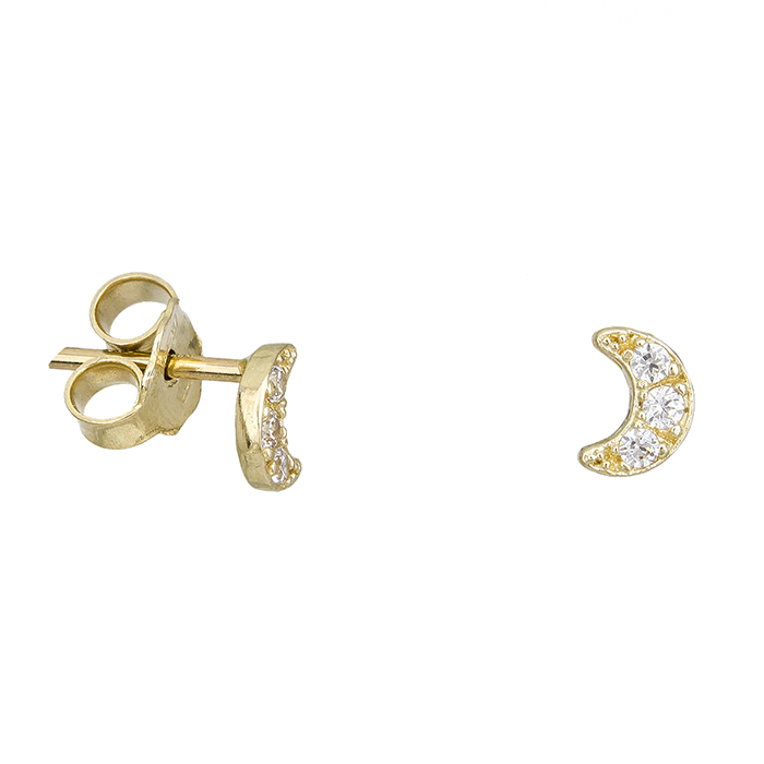 Γυναικεία σκουλαρίκια Κ14 μισοφέγγαρα με ζιργκόν 027717 027717 Χρυσός 14 Καράτια