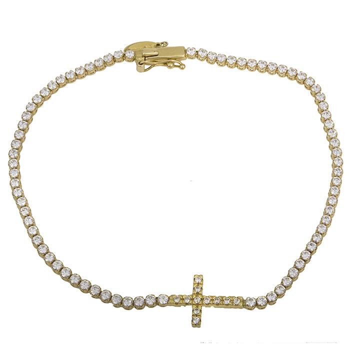 Βραχιόλι ριβιέρα με σταυρό Κ14 027728 027728 Χρυσός 14 Καράτια