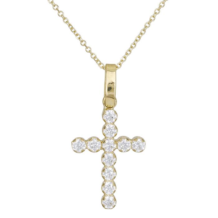Γυναικείο σταυρουδάκι Κ14 ολόπετρο 027729 027729 Χρυσός 14 Καράτια