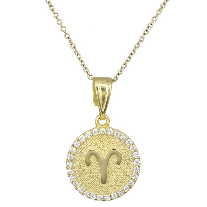 Γυναικείο κολιέ Κ9 Κριός με πέτρες 027754 027754 Χρυσός 9 Καράτια