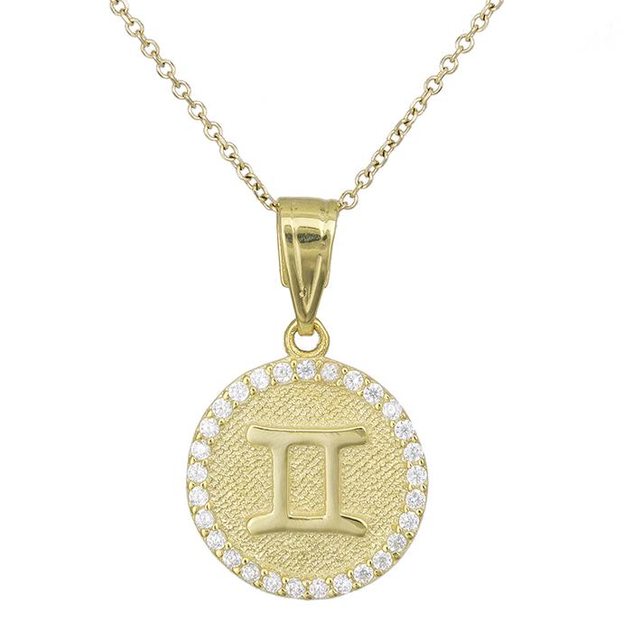 Γυναικείο κολιέ Κ9 Δίδυμος με πέτρες 027756 027756 Χρυσός 9 Καράτια