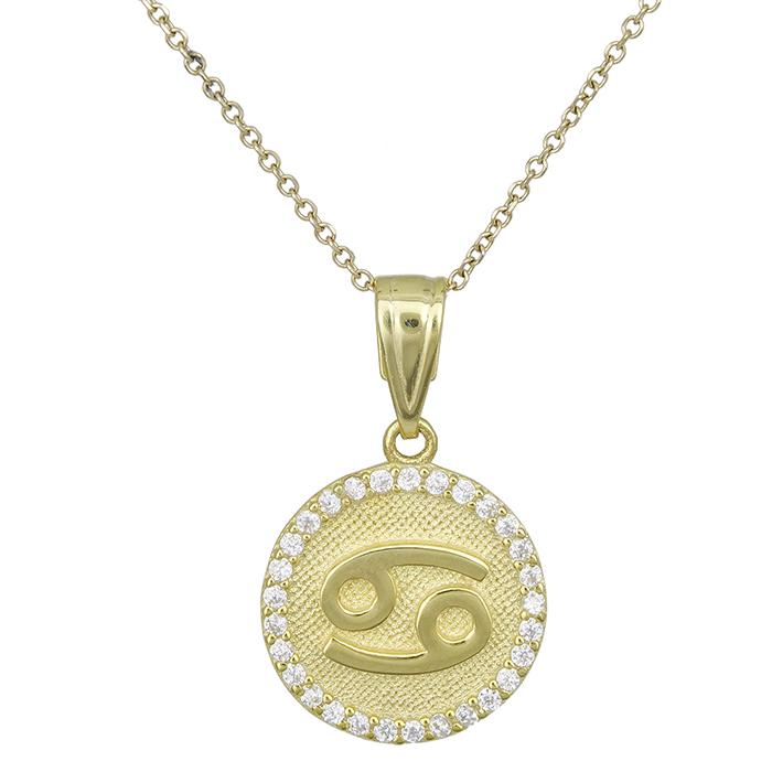 Γυναικείο κολιέ Κ9 Καρκίνος με πέτρες 027757 027757 Χρυσός 9 Καράτια