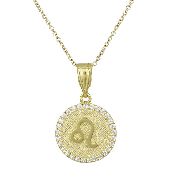 Γυναικείο κολιέ Κ9 Λέων με πέτρες 027758 027758 Χρυσός 9 Καράτια