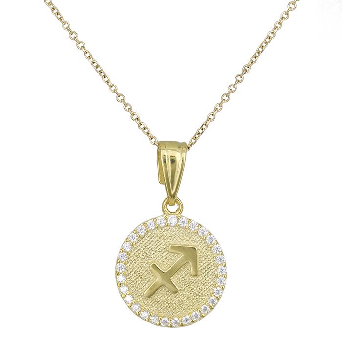 Γυναικείο κολιέ Κ9 Τοξότης με πέτρες 027762 027762 Χρυσός 9 Καράτια