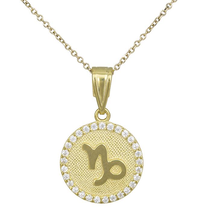 Γυναικείο κολιέ Κ9 Αιγόκερως με πέτρες 027763 027763 Χρυσός 9 Καράτια