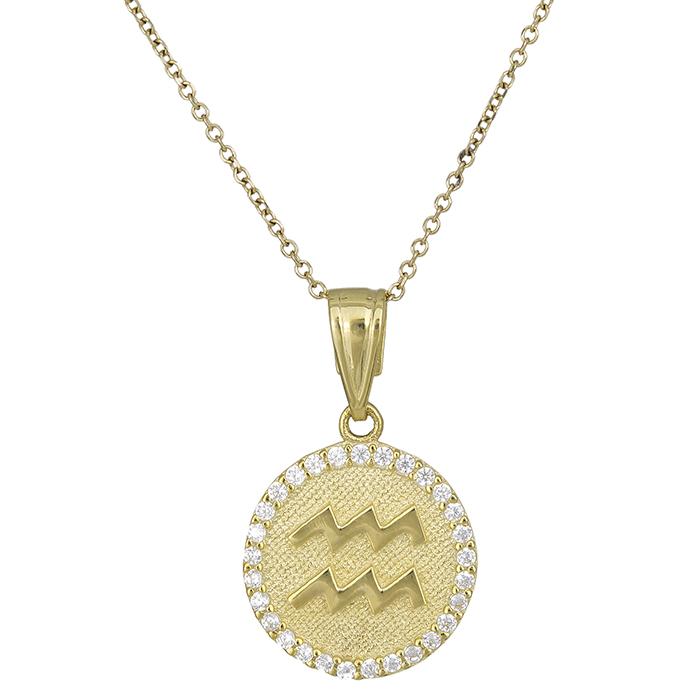 Γυναικείο κολιέ Κ9 Υδροχόος με πέτρες 027764 027764 Χρυσός 9 Καράτια