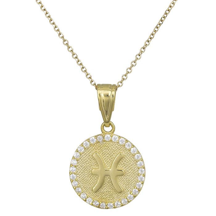 Γυναικείο κολιέ Κ9 Ιχθείς με πέτρες 027765 027765 Χρυσός 9 Καράτια