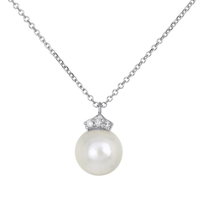 Λευκόχρυσο γυναικείο κολιέ Κ14 με μαργαριτάρι και πέτρες 027771 027771 Χρυσός 14 Καράτια