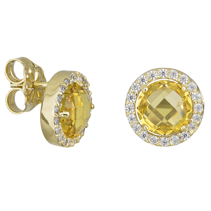 Γυναικεία χρυσά σκουλαρίκια Κ14 με ζιργκόν 027777 027777 Χρυσός 14 Καράτια