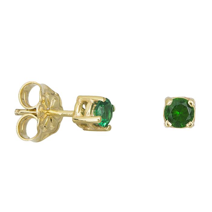 Γυναικεία σκουλαρίκια Κ14 με πράσινη ζιργκόν 027787 027787 Χρυσός 14 Καράτια