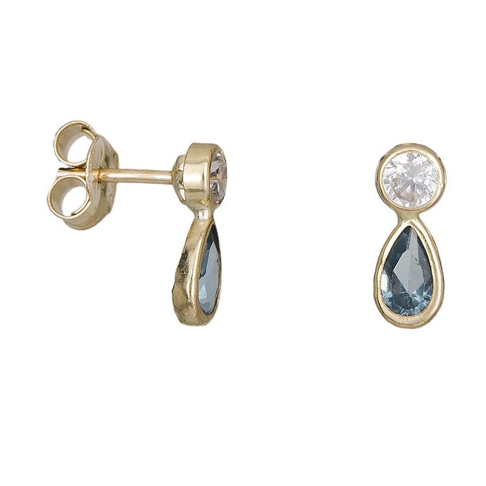 Παιδικά σκουλαρίκια Κ9 δάκρυ με πέτρες ζιργκόν 027803 Χρυσός 9 Καράτια cd6f6156f01