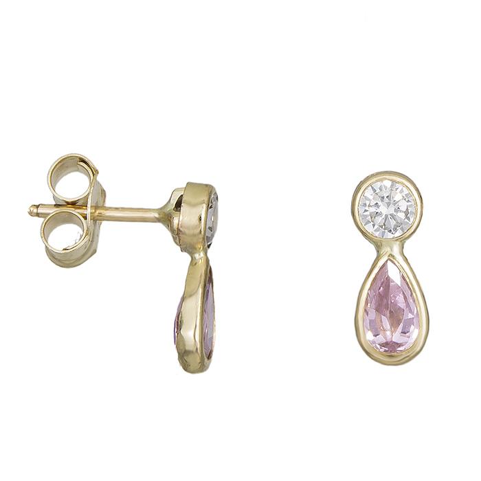 Παιδικά σκουλαρίκια Κ9 δάκρυ με πέτρες ζιργκόν ροζ 027815 027815 Χρυσός 9 Καράτια