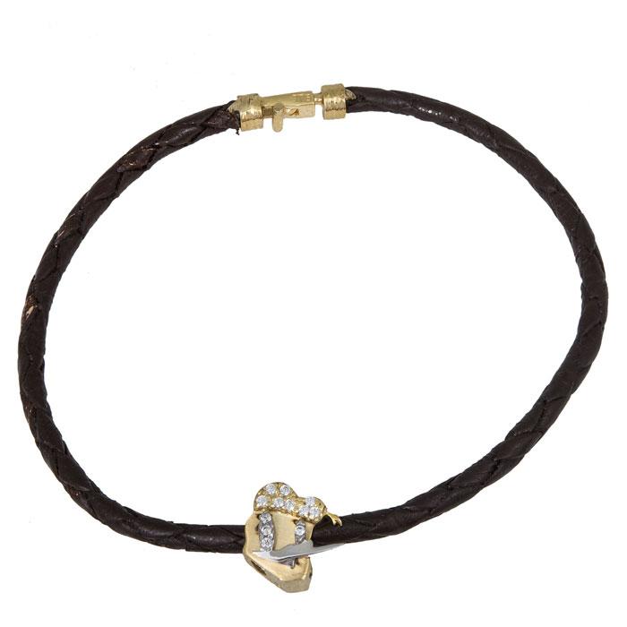 Δίχρωμο βραχιόλι Κ9 με δερμάτινο λουράκι 027818 027818 Χρυσός 9 Καράτια