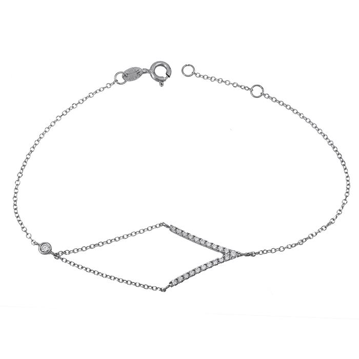 Γυναικείο Βραχιόλι Λευκόχρυσο Κ14 με πετρούλες 027834 027834 Χρυσός 14 Καράτια