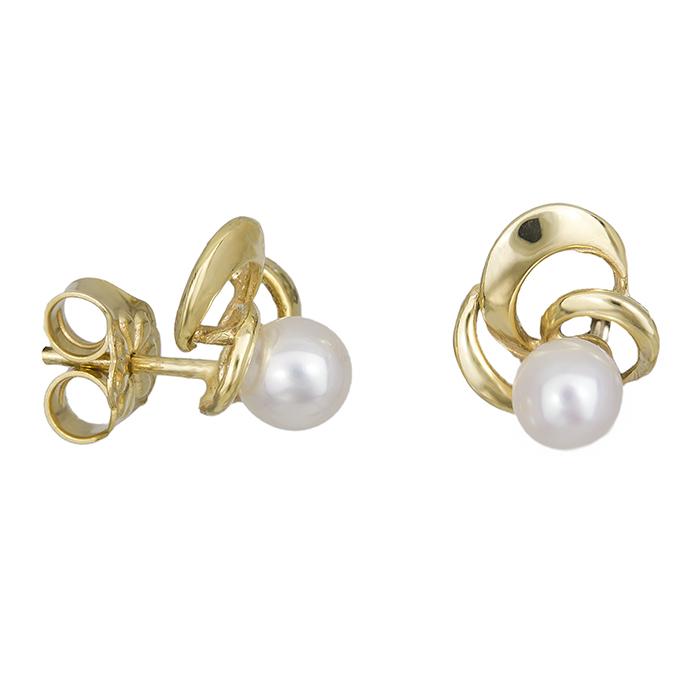 Γυναικεία σκουλαρίκια Κ14 μαργαριτάρι και σχέδιο 027877 027877 Χρυσός 14 Καράτια