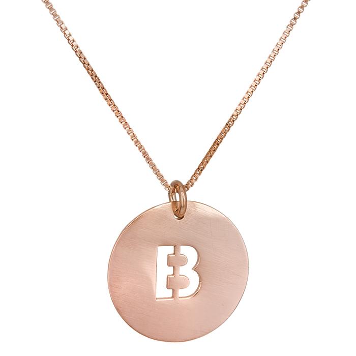 Γυναικείο κολιέ με μονόγραμμα Β ροζ επίχρυσο 925 027898 027898 Ασήμι