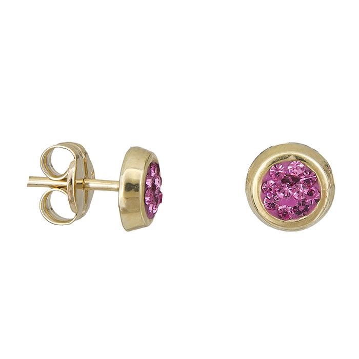Παιδικά χρυσά σκουλαρίκια Κ9 με πέτρες 027932 027932 Χρυσός 9 Καράτια