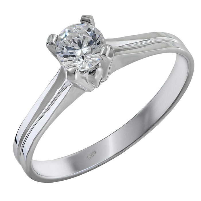 Λευκόχρυσο μονόπετρο Κ14 με ζιργκόν 028016 028016 Χρυσός 14 Καράτια χρυσά κοσμήματα δαχτυλίδια μονόπετρα