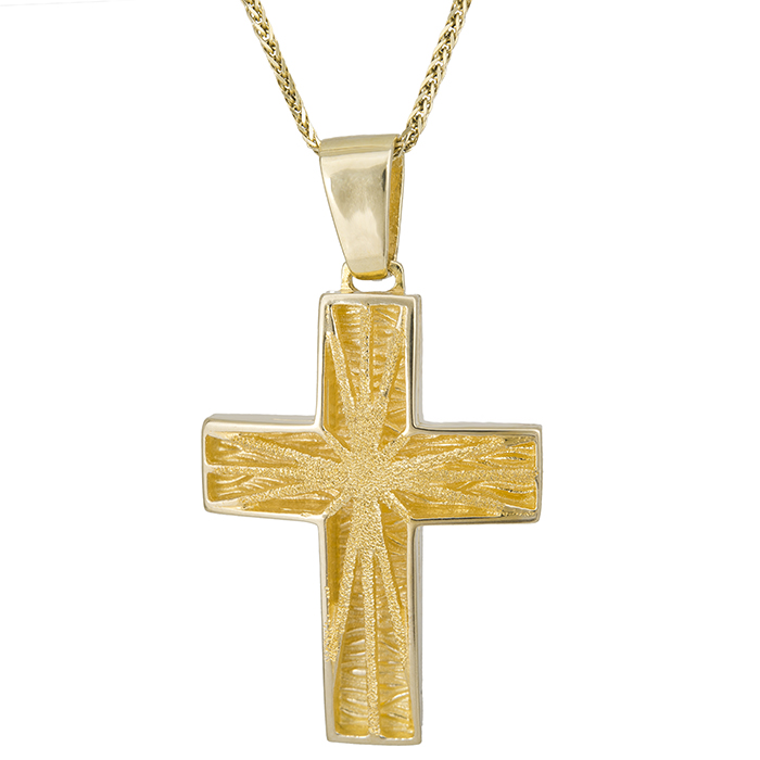 Βαπτιστικοί Σταυροί με Αλυσίδα Σταυρός βάπτισης Κ14 ανάγλυφος ματ 028064C 028064C Ανδρικό Χρυσός 14 Καράτια