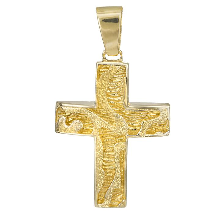 Σταυροί Βάπτισης - Αρραβώνα Σταυρός γυναικείος Κ14 ματ ανάγλυφος 028066 028066 Γυναικείο Χρυσός 14 Καράτια