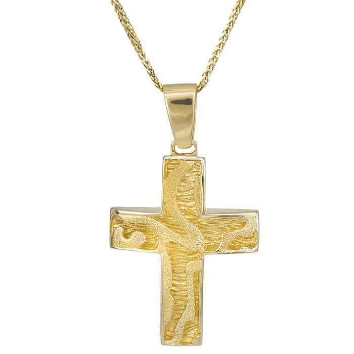 Βαπτιστικοί Σταυροί με Αλυσίδα Βαπτιστικός σταυρός ανάγλυφος Κ14 με αλυσίδα 028066C 028066C Γυναικείο Χρυσός 14 Καράτια