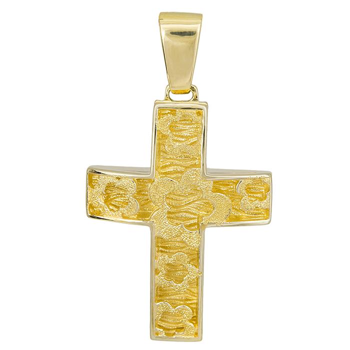 Σταυροί Βάπτισης - Αρραβώνα Γυναικείος σταυρός Κ14 λουλούδια 028067 028067 Γυναικείο Χρυσός 14 Καράτια