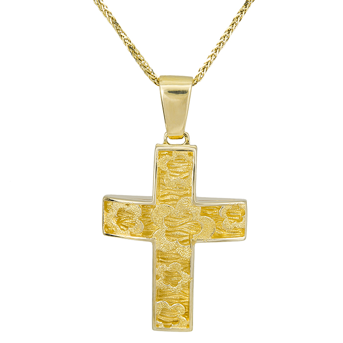 Βαπτιστικοί Σταυροί με Αλυσίδα Γυναικείος σταυρός ανάγλυφος Κ14 με αλυσίδα 028067C 028067C Γυναικείο Χρυσός 14 Καράτια