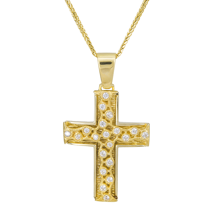 Βαπτιστικοί Σταυροί με Αλυσίδα Γυναικείος σταυρός ανάγλυφος Κ14 με αλυσίδα 028068C 028068C Γυναικείο Χρυσός 14 Καράτια