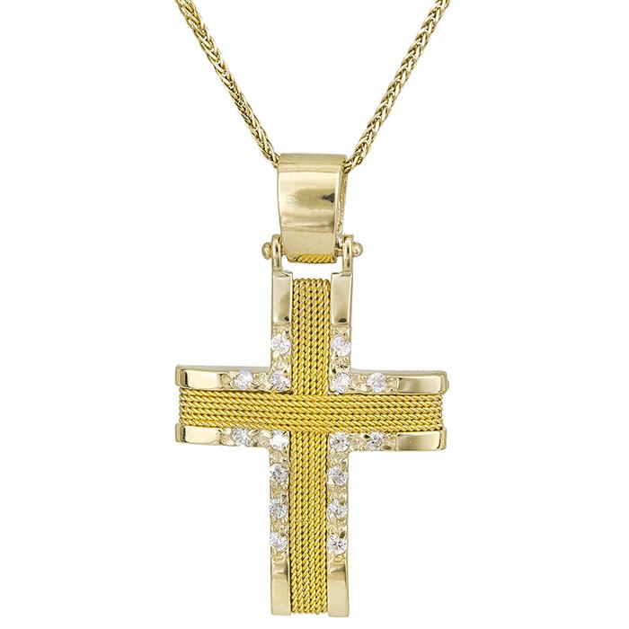 Βαπτιστικοί Σταυροί με Αλυσίδα Γυναικείος σταυρός με αλυσίδα Κ14 συρματερός με πέτρες 028071C 028071C Γυναικείο Χρυσός 14 Καράτια