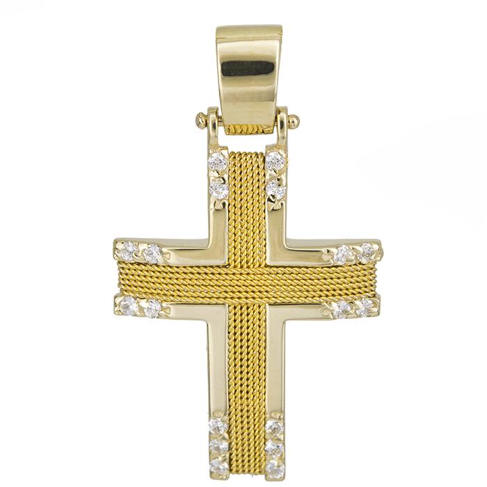 Σταυροί Βάπτισης - Αρραβώνα Γυναικείος σταυρός Κ14 με σύρμα και πέτρες 028073 028073 Γυναικείο Χρυσός 14 Καράτια