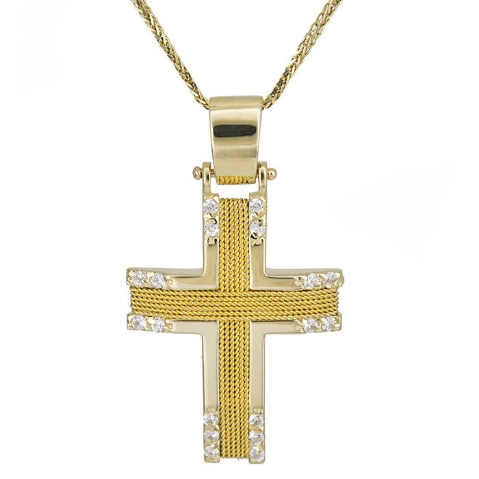 Βαπτιστικοί Σταυροί με Αλυσίδα Γυναικείος σταυρός με αλυσίδα Κ14 συρματερός με πέτρες 028073C 028073C Γυναικείο Χρυσός 14 Καράτια