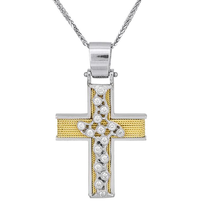 Βαπτιστικοί Σταυροί με Αλυσίδα Γυναικείος σταυρός με αλυσίδα Κ14 δίχρωμος συρματερός 028078C 028078C Γυναικείο Χρυσός 14 Καράτια