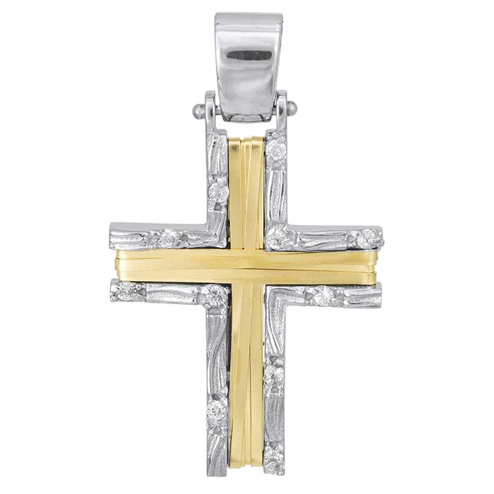 Σταυροί Βάπτισης - Αρραβώνα Γυναικείος σταυρός δίχρωμος Κ14 συρματερός 028084 028084 Γυναικείο Χρυσός 14 Καράτια