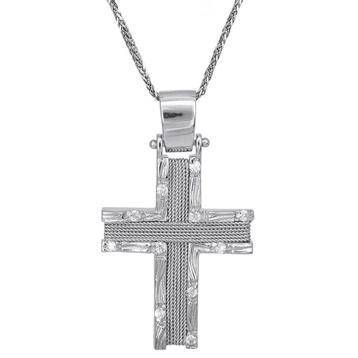 Βαπτιστικοί Σταυροί με Αλυσίδα Λευκόχρυσος σταυρός με αλυσίδα Κ14 σύρμα 028088C 028088C Γυναικείο Χρυσός 14 Καράτια