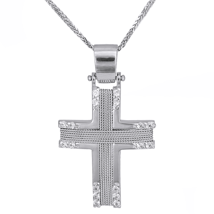 Βαπτιστικοί Σταυροί με Αλυσίδα Λευκόχρυσος σταυρός Κ14 με αλυσίδα και σύρμα 028089C 028089C Γυναικείο Χρυσός 14 Καράτια