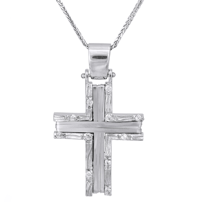 Βαπτιστικοί Σταυροί με Αλυσίδα Λευκόχρυσος σταυρός Κ14 με αλυσίδα ανάγλυφος συρματερός 028092C 028092C Γυναικείο Χρυσός 14 Καράτια