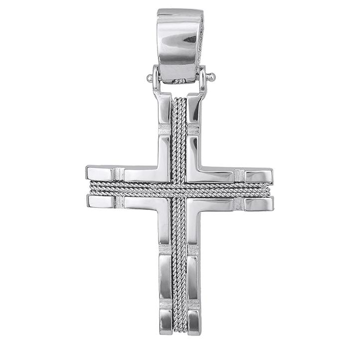 Σταυροί Βάπτισης - Αρραβώνα Λευκόχρυσος σταυρός Κ14 με σύρμα 028121 028121 Ανδρικό Χρυσός 14 Καράτια