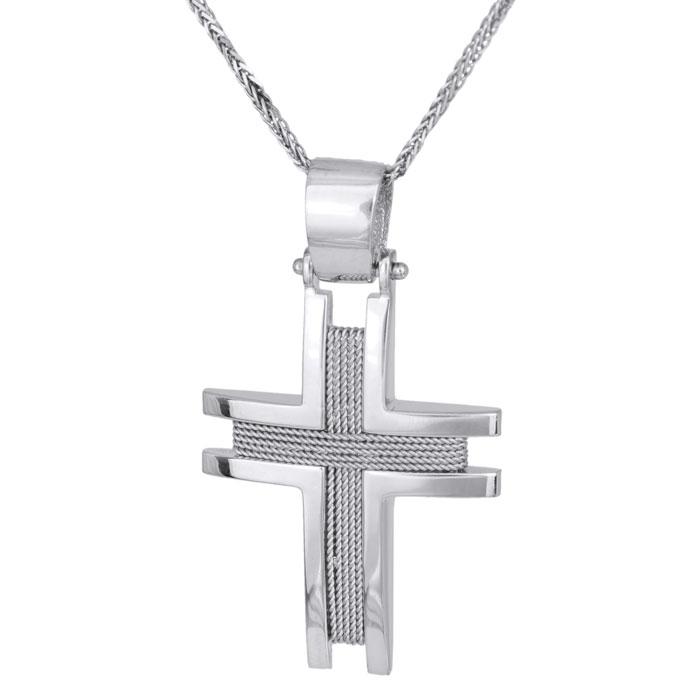 Βαπτιστικοί Σταυροί με Αλυσίδα Λευκόχρυσος σταυρός με αλυσίδα Κ14 συρματερός 028125C 028125C Ανδρικό Χρυσός 14 Καράτια