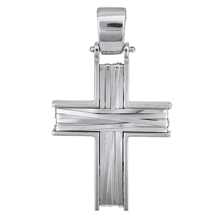 Σταυροί Βάπτισης - Αρραβώνα Λευκόχρυσος σταυρός για αγόρι Κ14 028128 028128 Ανδρικό Χρυσός 14 Καράτια