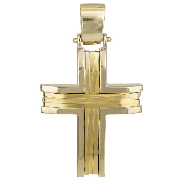 Σταυροί Βάπτισης - Αρραβώνα Χρυσός σταυρός με πλακέ σύρμα Κ14 028135 028135 Ανδρικό Χρυσός 14 Καράτια