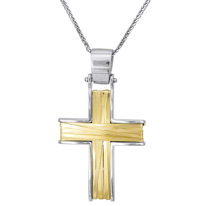 Βαπτιστικοί Σταυροί με Αλυσίδα Συρματερός δίχρωμος σταυρός Κ14 028147C 028147C Ανδρικό Χρυσός 14 Καράτια