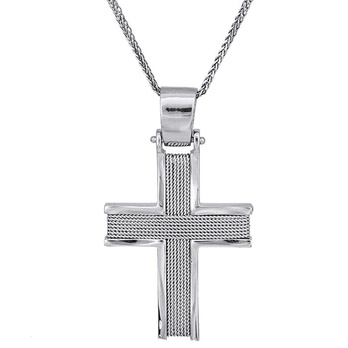 Βαπτιστικοί Σταυροί με Αλυσίδα Λευκόχρυσος χειροποίητος σταυρός Κ14 με αλυσίδα 028150C 028150C Ανδρικό Χρυσός 14 Καράτια