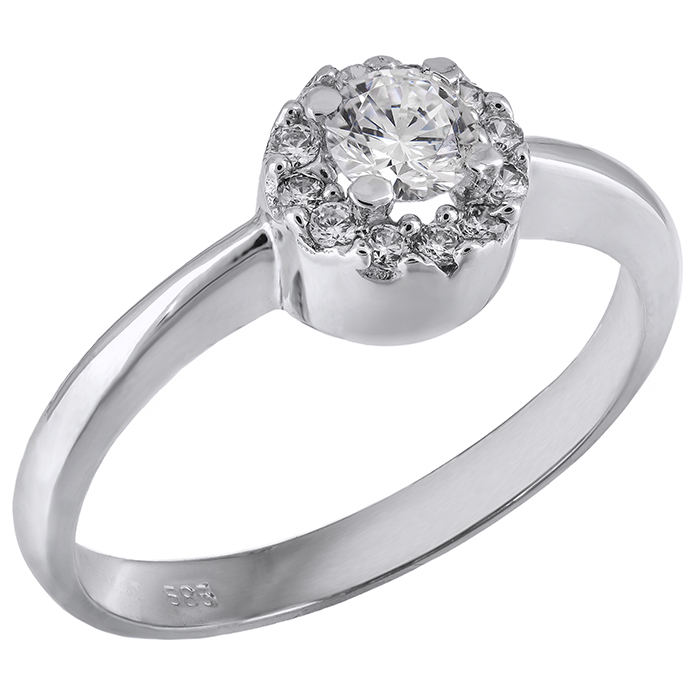 Λευκόχρυσο μονόπετρο δαχτυλίδι Κ14 με ζιργκόν 028175 028175 Χρυσός 14 Καράτια χρυσά κοσμήματα δαχτυλίδια μονόπετρα