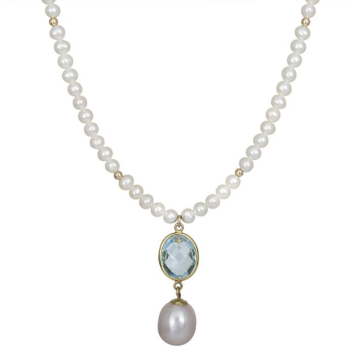 Μαργαριταρένιο κολιέ Κ14 με μπλε τοπάζ πέτρα 028184 028184 Χρυσός 14 Καράτια